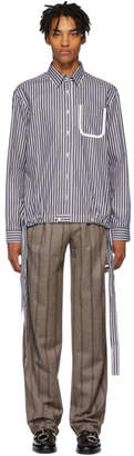 Daniel W. Fletcher Black and White Striped Tie Shirt
