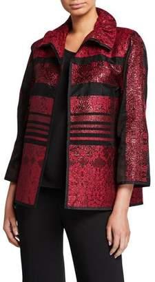 Caroline Rose Sheer Stripe Ruched Collar Bracelet Sleeve Jacket