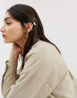 Asos Design DESIGN barette clip in circle shape with marble detail in gold