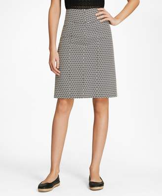 Brooks Brothers Floral Stretch Cotton Jacquard Skirt