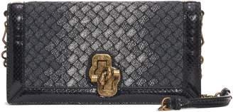 Bottega Veneta Intrecciato Knit & Genuine Snakeskin Clutch