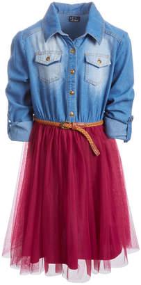 Pink & Violet Little Girls Denim-Bodice Tutu Dress