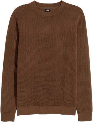 H&M Textured-knit Sweater - Brown