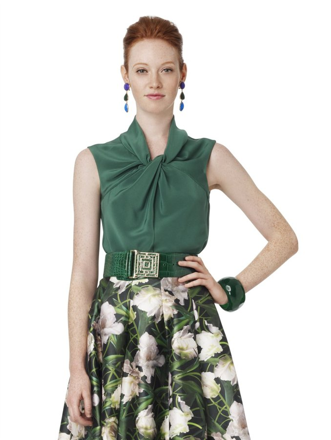 Oscar de la Renta Sleeveless Ruched Neck Blouse