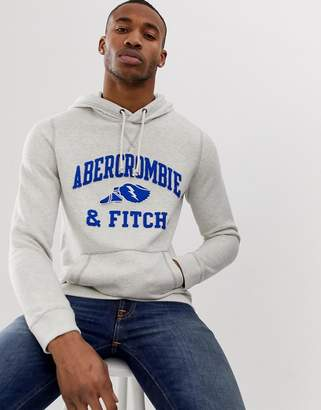 Abercrombie & Fitch athletic club logo hoodie in gray