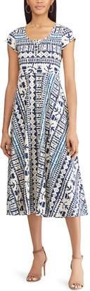 Chaps Petite Print Midi Dress