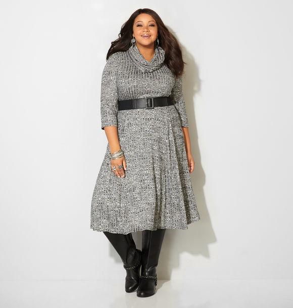 Belted Rib Scarf Dress