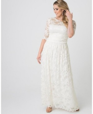 Kiyonna Womens Plus Size Lace Illusion Wedding Gown