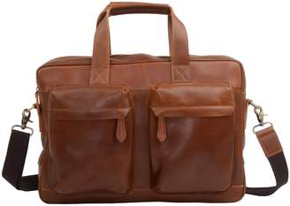 EAZO - Front Pockets Leather Laptop Brief in Light Brown