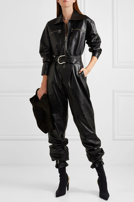 Dodo Bar Or Barbara Belted Leather Jumpsuit - Black
