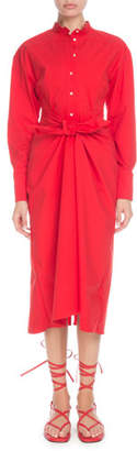 Proenza Schouler Long-Sleeve Tie-Waist Button-Front Boyfriend Shirtdress