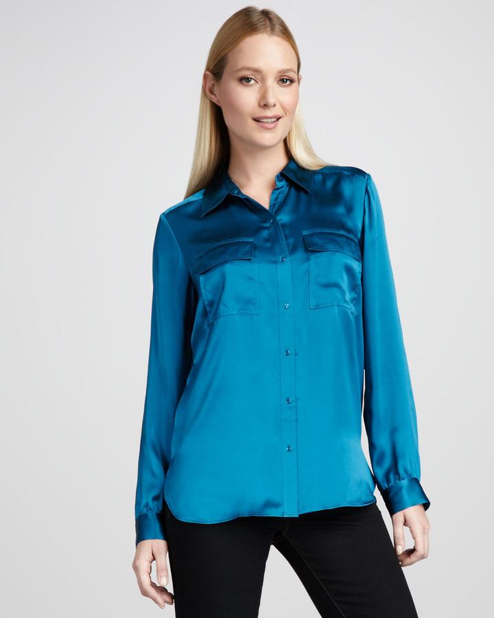 Go Silk Charmeuse Button-Front Blouse, Petite
