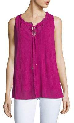 Ellen Tracy Shirred Sleeveless Top