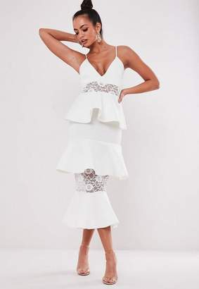 Missguided White Lace Panel Scuba Tiered Midi Dress