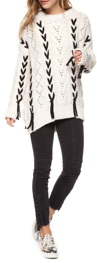 Cable Knit Sweater w Contrast Lacing