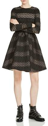 Maje Relane Lace-Inset Fit-and-Flare Dress