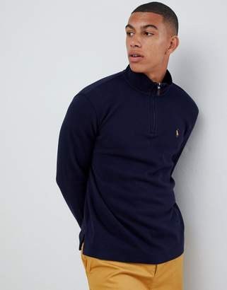 9abc5ead157c Polo Ralph Lauren half zip cotton knit jumper with multi player logo in navy