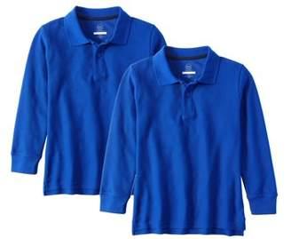 Wonder Nation Boys School Uniform Long Sleeve Double Pique Polo, 2-Pack Value Bundle