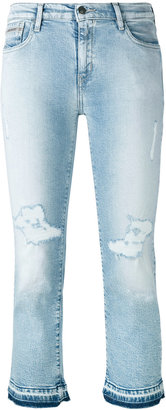 Calvin Klein Jeans ripped cropped jeans $143.53 thestylecure.com