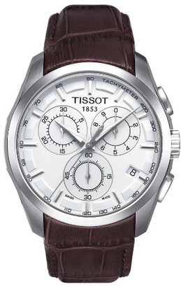 Tissot Couturier Chronograph Leather Strap Watch, 41Mm $525 thestylecure.com