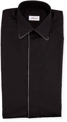 Brioni Men's Formal Shirt w/ Contrast Piping
