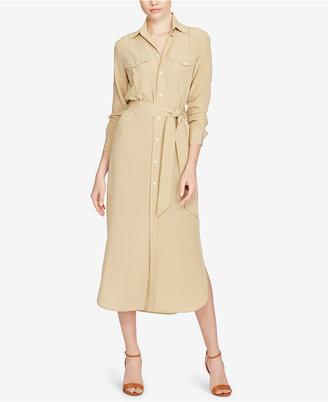 Polo Ralph Lauren Silk Crepe Shirtdress $298 thestylecure.com