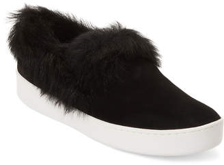 Donna Karan Black Fur & Leather Tiana Slip On Sneakers