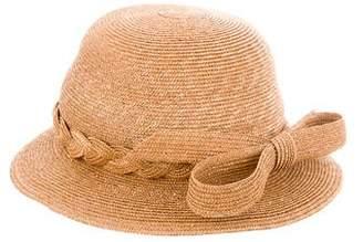 Frank Olive Straw Bow-Embellished Hat