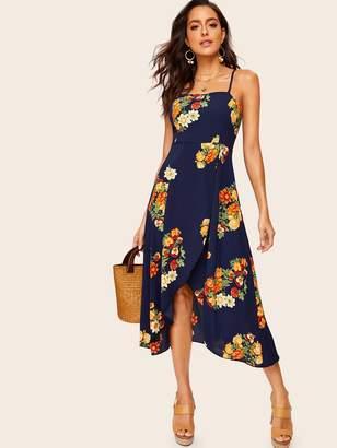 Shein Floral Print Tulip Hem Backless Cami Dress