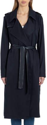 Badgley Mischka Angelina Self-Tie Trench Coat