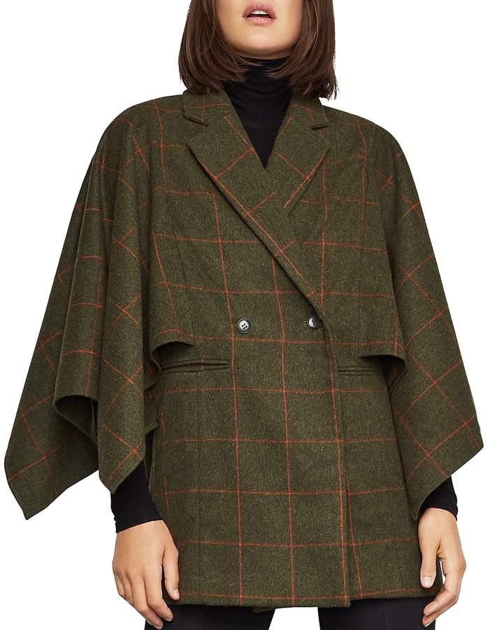 Windowpane-Plaid Cape-Sleeve Jacket