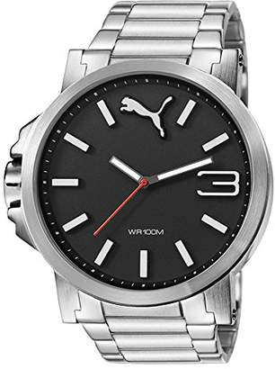 Puma Ultrasize Metal Unisex Quartz Watch with Black Dial Analogue Display and Silver Stainless Steel Bracelet PU103461003