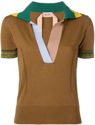 No.21 colourblock knitted polo top