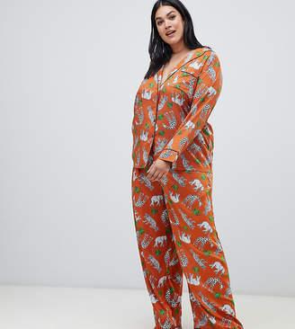 Asos DESIGN Curve safari animal pyjama shirt and wide leg set 100% modal