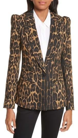 Leopard Puff Shoulder Wool Blazer