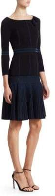 Fendi Long-Sleeve Knit Pleated Hem A-Line Dress