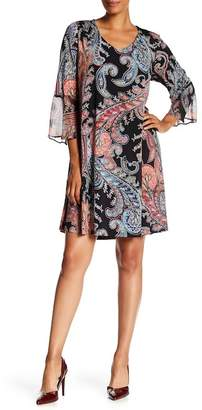 Connected Apparel Paisley Print Bell Sleeve Dress