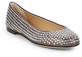 Giuseppe Zanotti Crystal-Studded Leather Ballet Flats