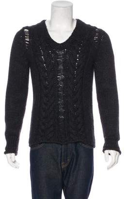Pierre Balmain Distressed Alpaca-Blend Cable Knit Sweater