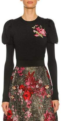 Dolce & Gabbana Floral-Embroidered Puff-Sleeve Sweater, Dark Gray