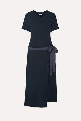 Rosetta Getty Draped Canvas-trimmed Cotton-jersey Tunic - Midnight blue