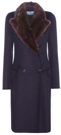 pradaPrada Fur-trimmed Wool, Angora And Cashmere Coat