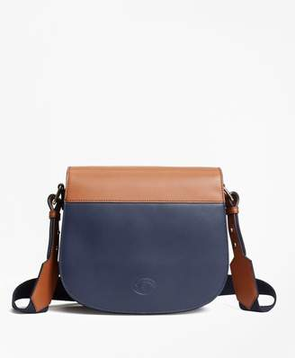 Brooks Brothers Color-Block Leather Saddle Bag