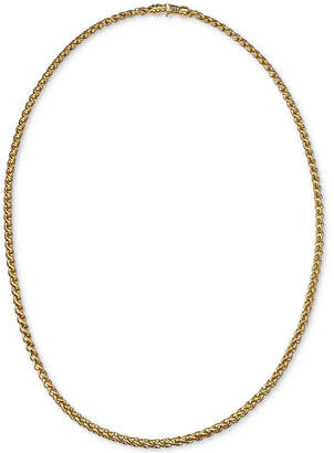 "Esquire Men's Jewelry 22"" Wheat Chain Link Necklace in 14k Gold-Plated Sterling Silver"