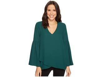 Karen Kane Crossover Bell Sleeve Top Women's Clothing