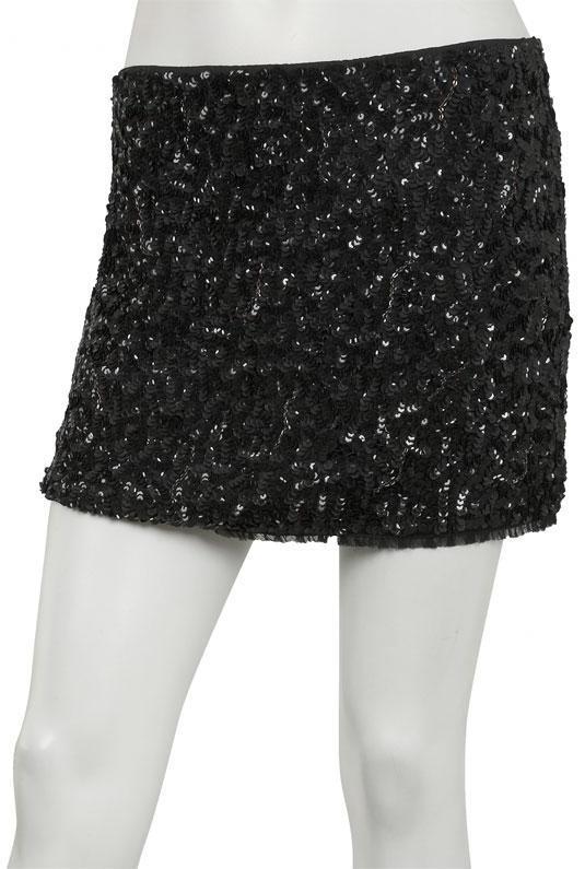 Sequin Mini Skirt in Black - by Alice + Olivia