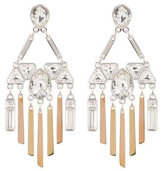 Swarovski Three-Tone Bezel Set Crystal & Fringe Chandelier Earrings