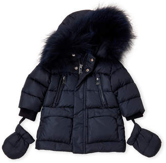 ADD Newborn Boys) Real Fur-Trimmed Down Jacket