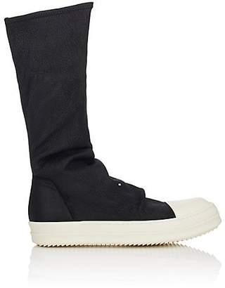 Rick Owens Men's Stretch-Leather Sock Sneakers - Black