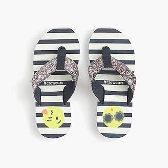 J.Crew Girls' glitter emoji flip-flops